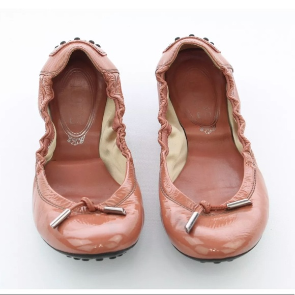 Tod's Shoes - Tod's Flats Pink Shiny gripped sole slip on shoes